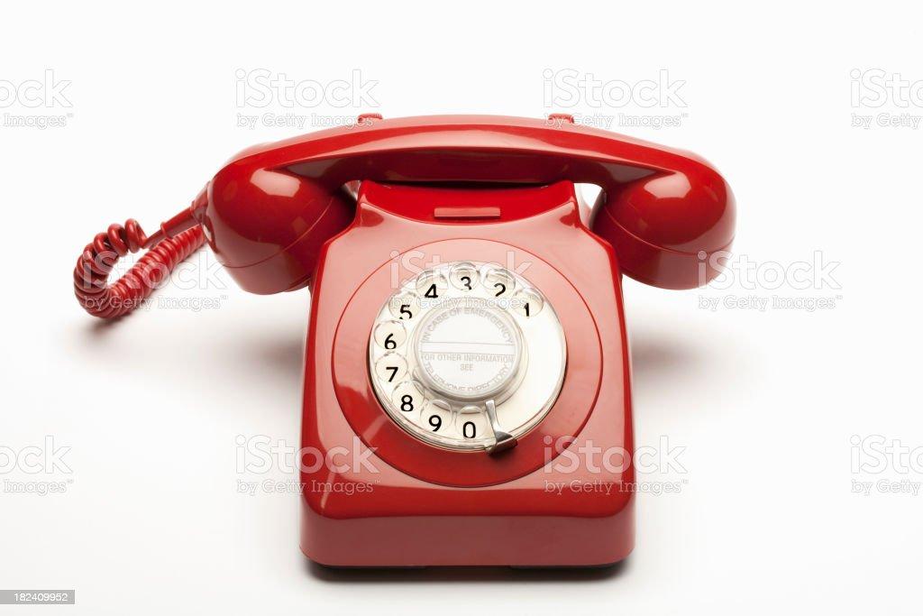 red rotary phone stock photo