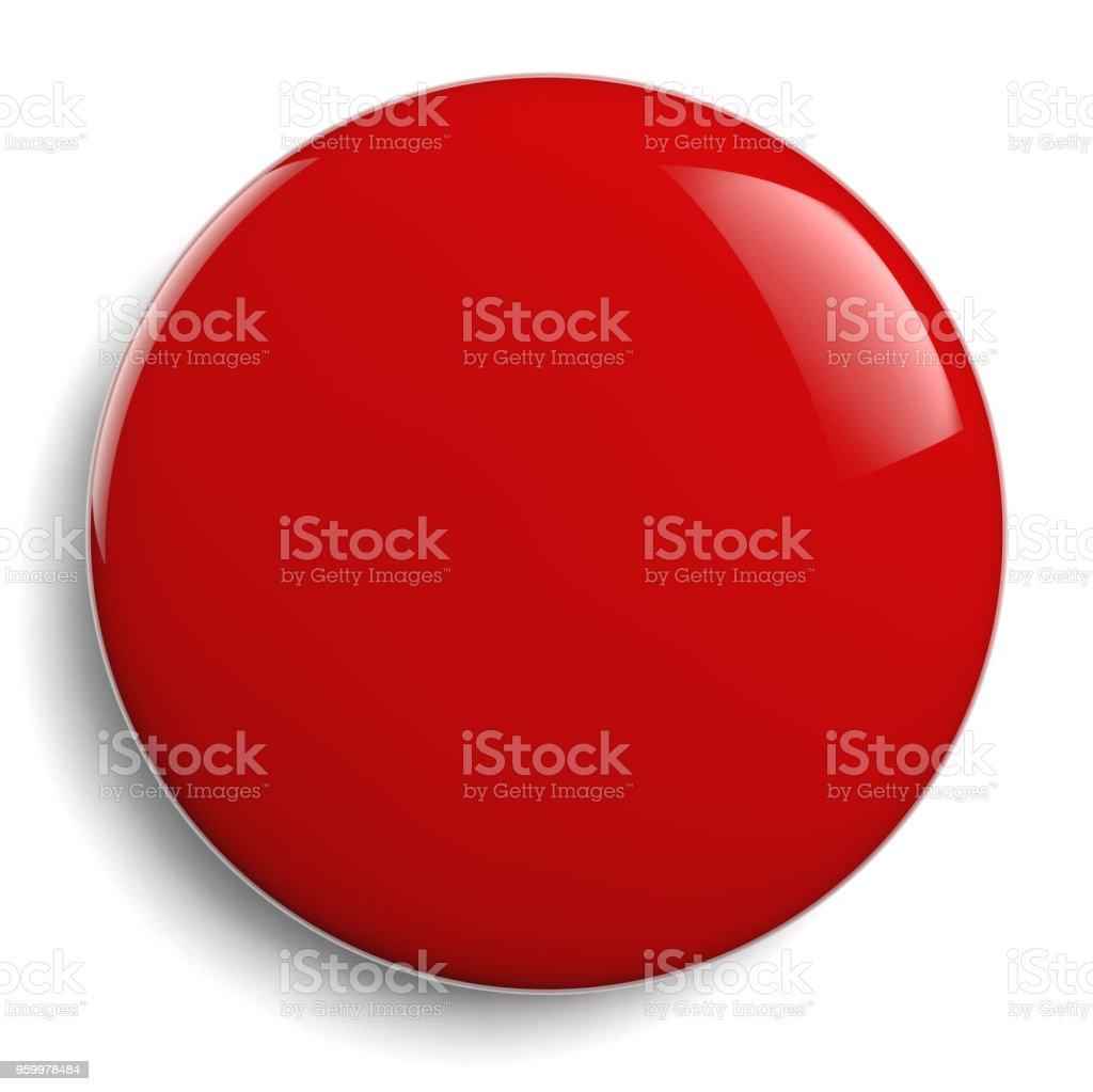 Rojo redondo en blanco botón rojo - foto de stock