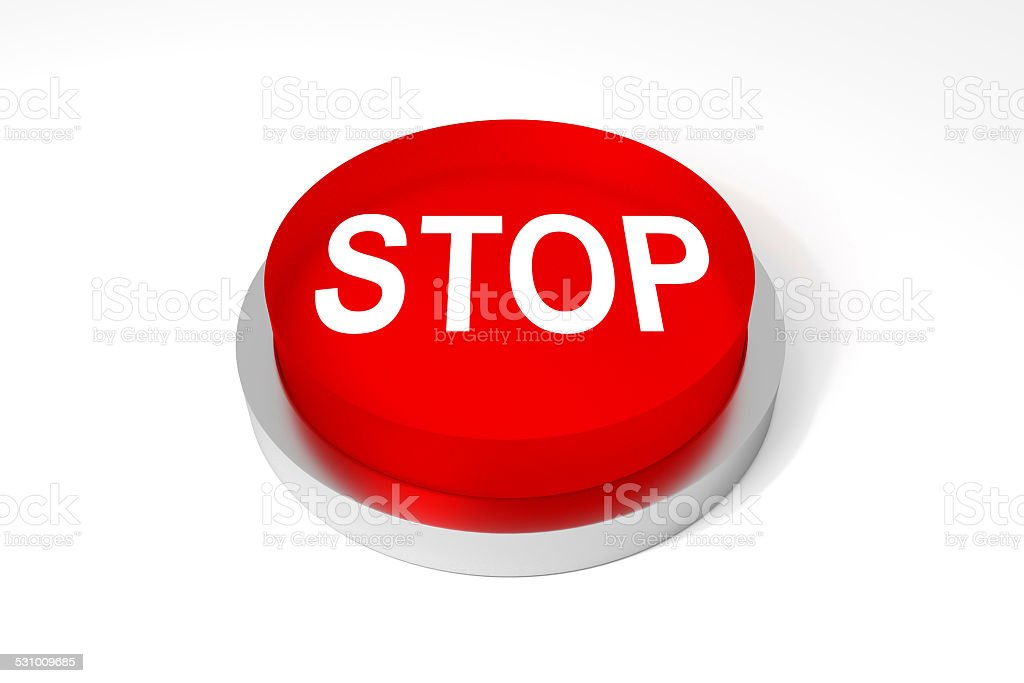 red round button stop stock photo