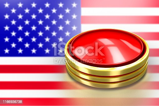 istock Red round button with gold border. United states of America lunch ICBM missile for nuclear bomb test 3d illustration concept. USA flag on broken crisis trump. 1166936738