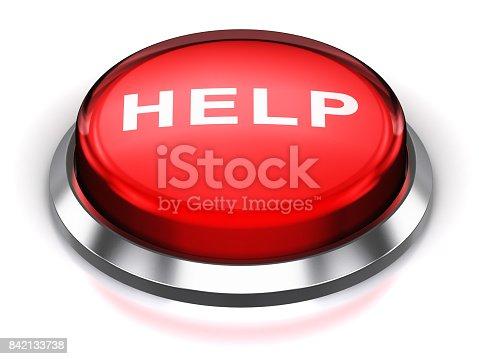 istock Red round Help button 842133738