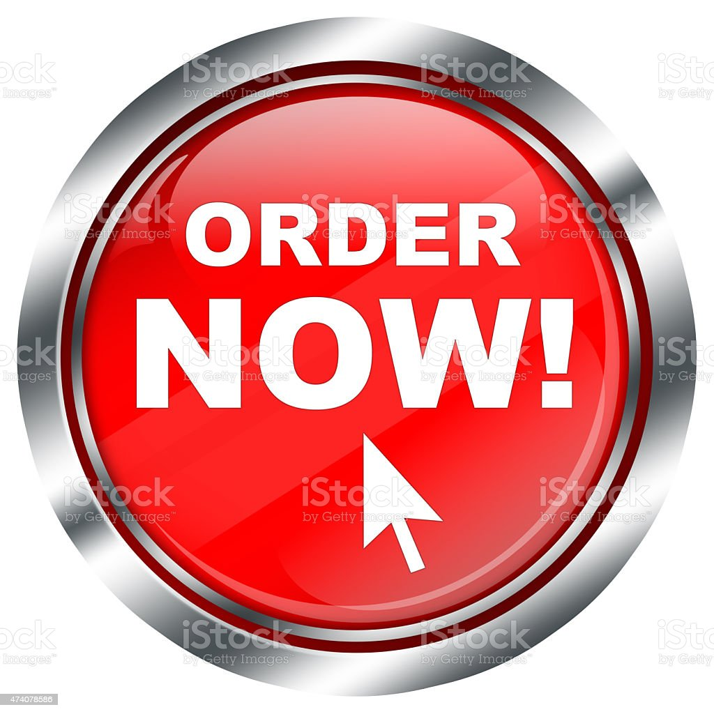 red round order now button for online shop with  arrow stock photo