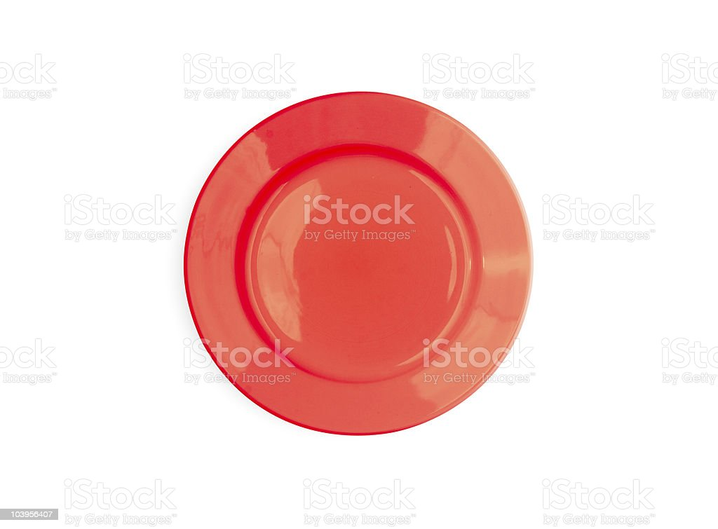 Red round plate isolated on white stock photo