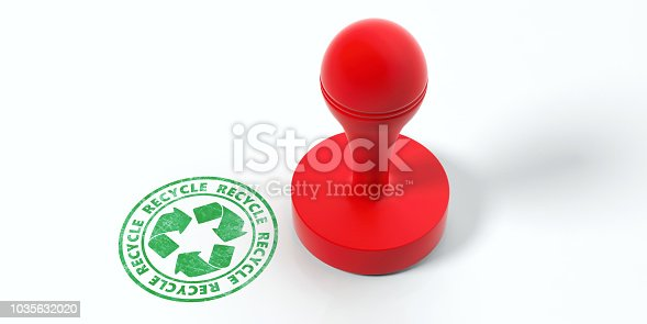 istock Red round rubber stamper and green stamp with text recycle isolated on white background. 3d illustration 1035632020