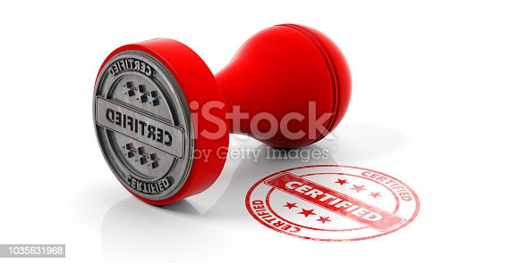 istock Red round rubber stamper and stamp with text certified isolated on white background. 3d illustration 1035631968