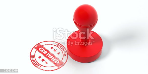 istock Red round rubber stamper and stamp with text certified isolated on white background. 3d illustration 1035632016