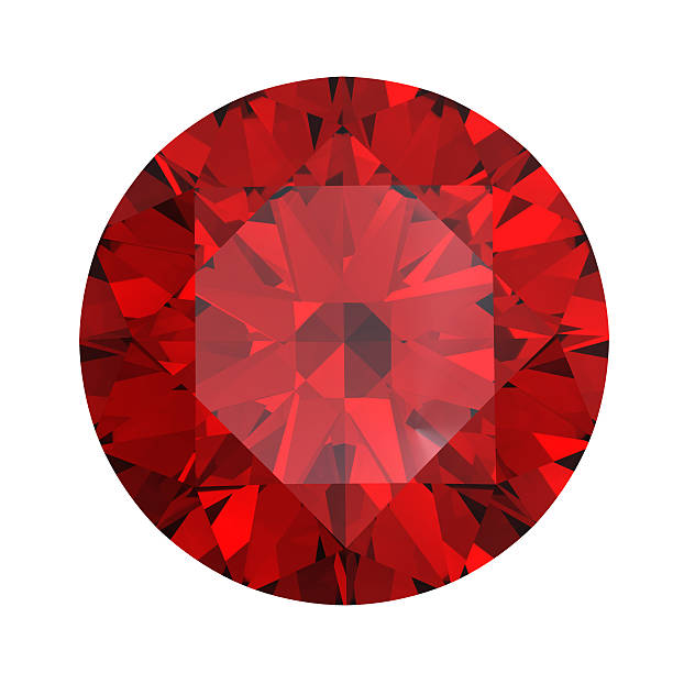 red round shaped garnet on a white background - smyckessten bildbanksfoton och bilder