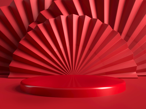 Red round stage, podium or pedestal against red paper fans and background. Background for presenting your product, identity or packaging. Place your cosmetics or fashion object on podium. 3d illustration