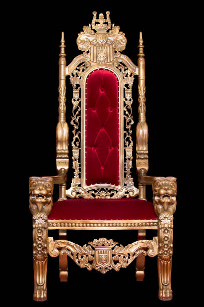 red royal chair isolated on black background. place for the king. throne. tsar's chair. - tron zdjęcia i obrazy z banku zdjęć
