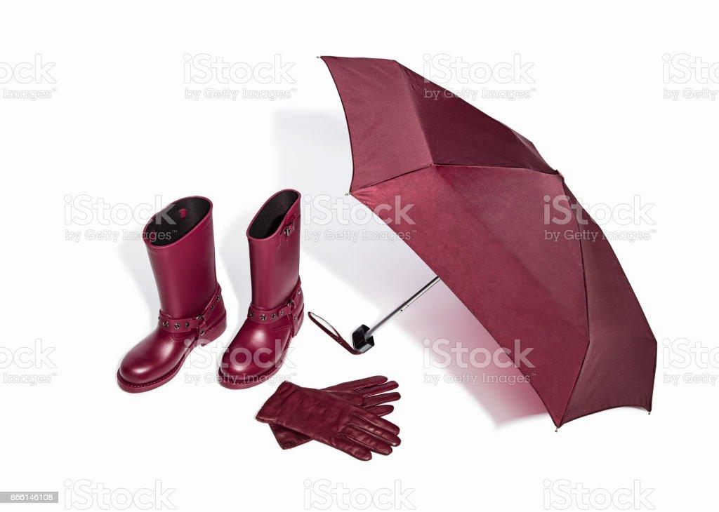 赤ゴム長靴、傘付きレザー グローブ ロイヤリティフリーストックフォト