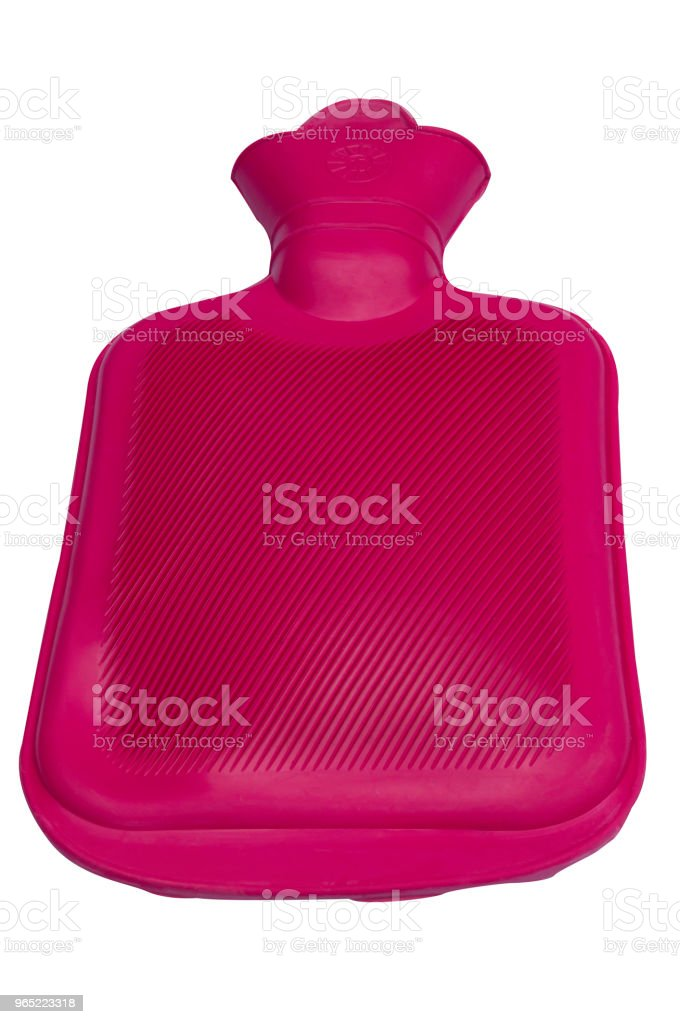 Red rubber hot water bag on white background with clipping path royalty-free stock photo