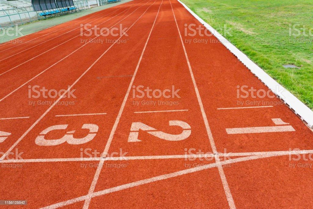 Red rubber running track, outdoor sport floor,