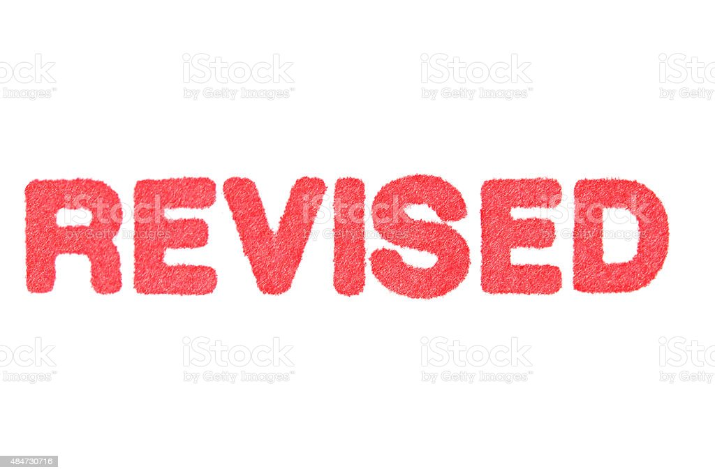 REVISE! red Rubber Stamp isolated on white background. stock photo
