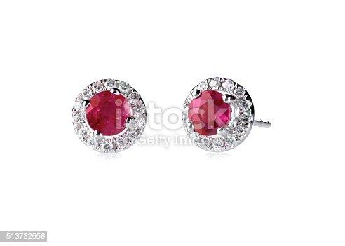 istock Red ruby halo setting diamond stud earrings set 513732556