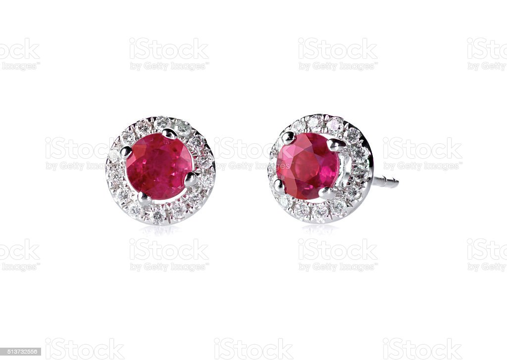 Red ruby halo setting diamond stud earrings set stock photo