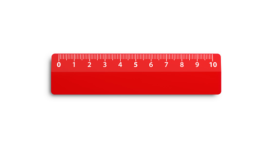 Red ruler on white background. Horizontal composition with clipping path and copy space. Directly above.