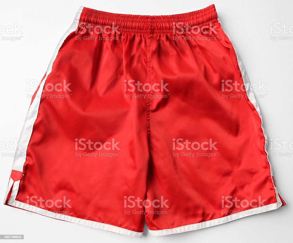 Red Running Fitness Athletic Wear Shorts stock photo