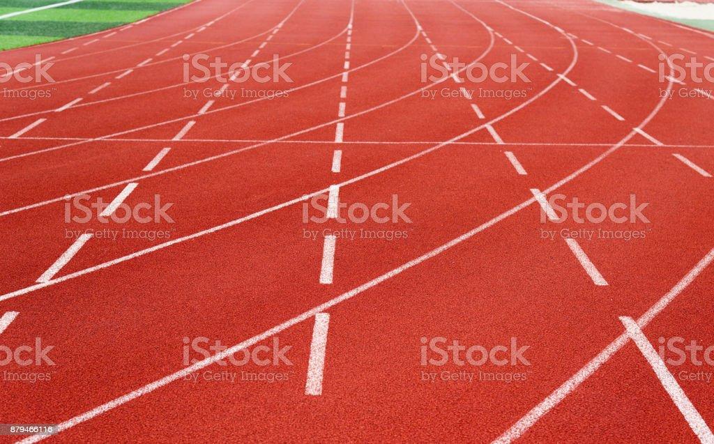 Roten Laufstrecke im Sportplatz – Foto