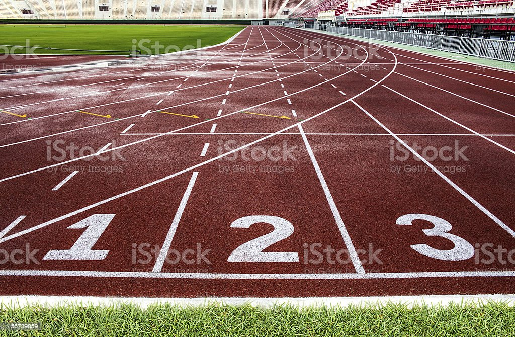 Red running track in The National Stadium of Thailand, Bangkok. stock photo