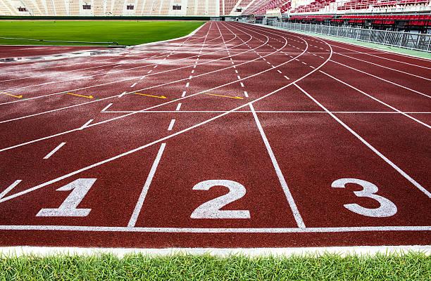 Red running track in The National Stadium of Thailand, Bangkok. stock photo