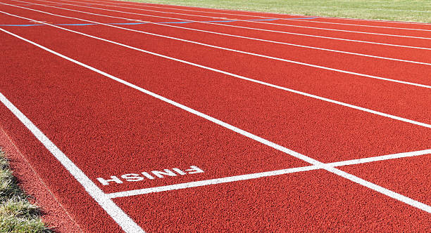 Red Running Track Inverted Finish Line stock photo