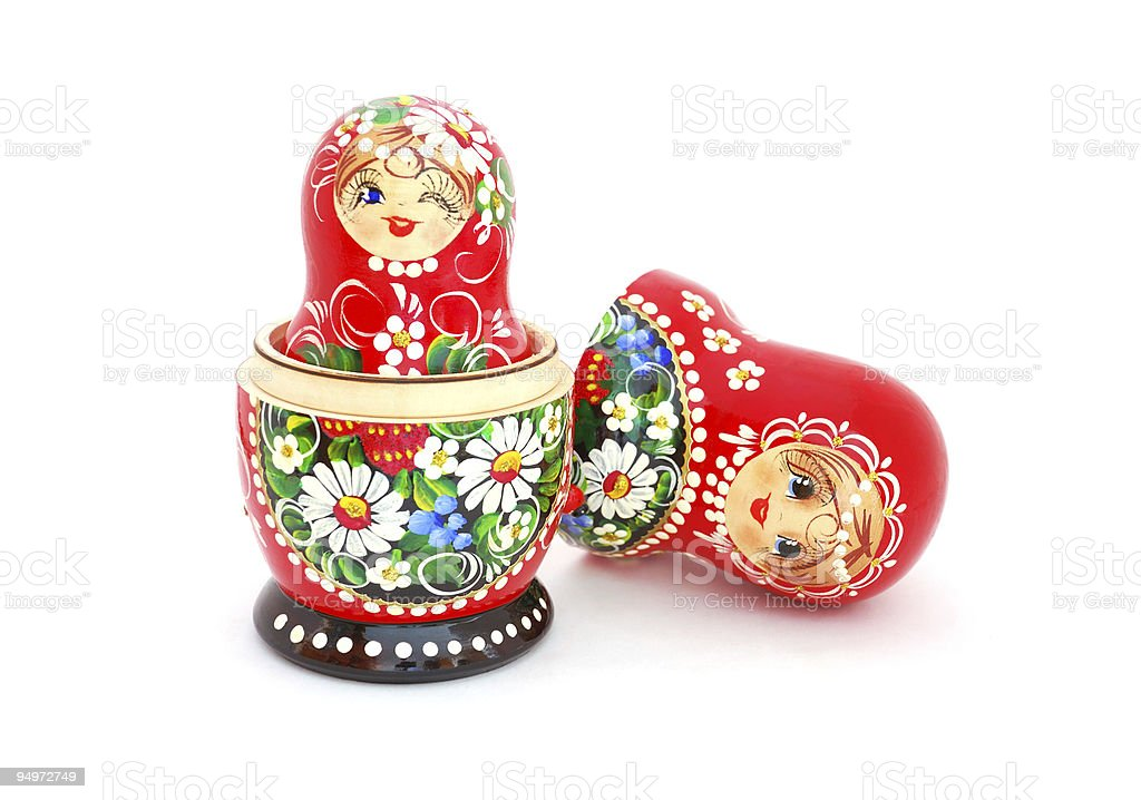 Red Russian nesting dolls with floral patterns  royalty-free stock photo