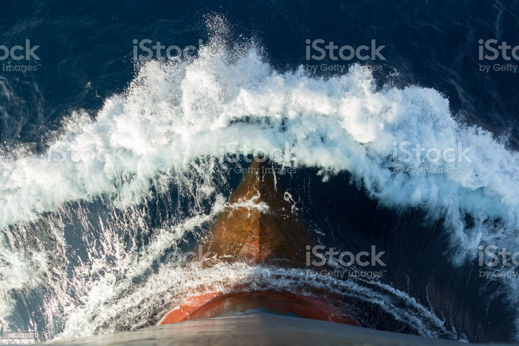 Red rusty bulb of a tanker. stock photo