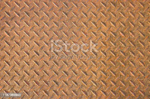 615100828istockphoto Red Rusty steel diamond plate texture 1187389900