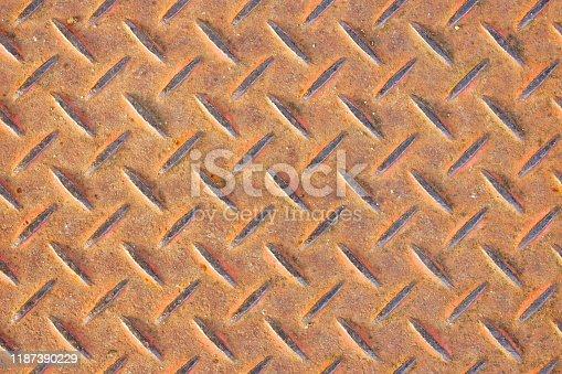 615100828istockphoto Red Rusty steel diamond plate texture 1187390229