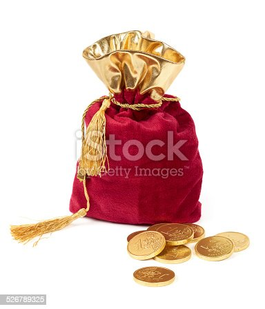 482747823istockphoto Red sack and euro chocolate coins 526789325