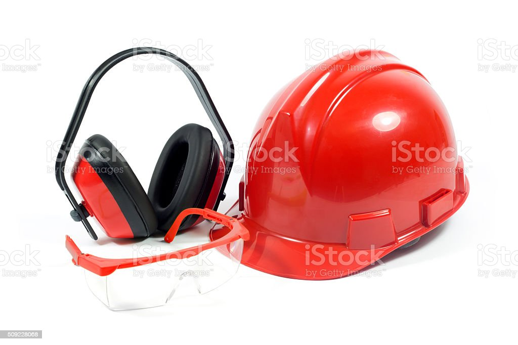 Red Safety Helmet, Transparent Goggles And Earmuffs Isolated On White stock photo