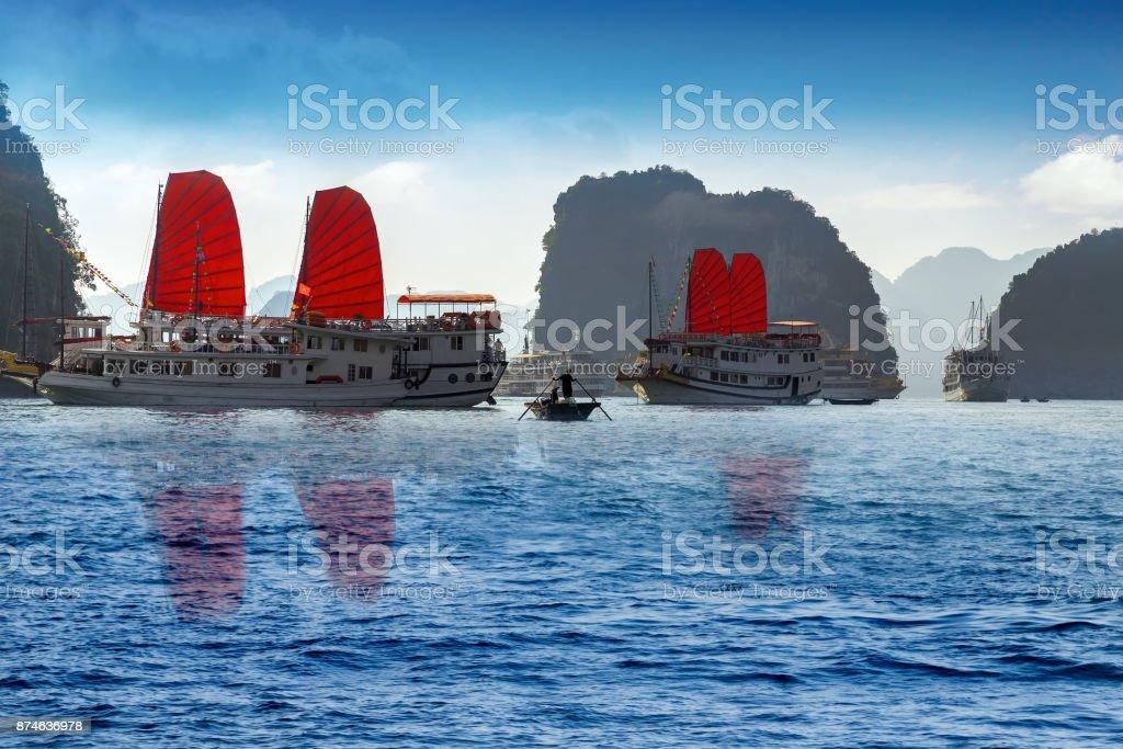 red sail Ha Long Bay, Vietnam. stock photo