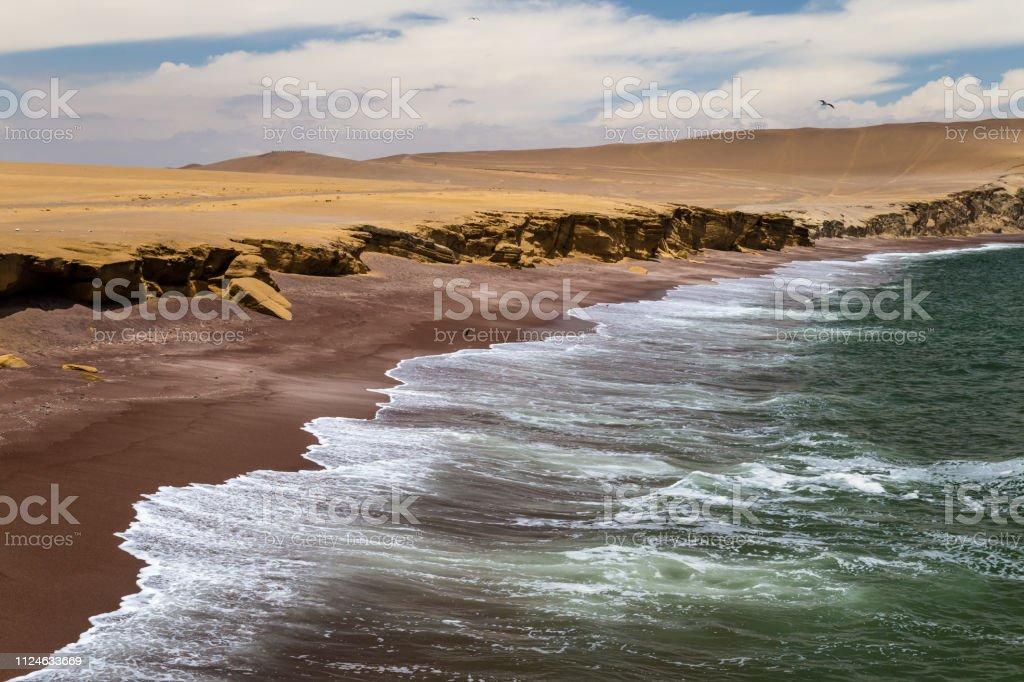 Praia de areia vermelha na reserva nacional de Paracas, Peru - foto de acervo