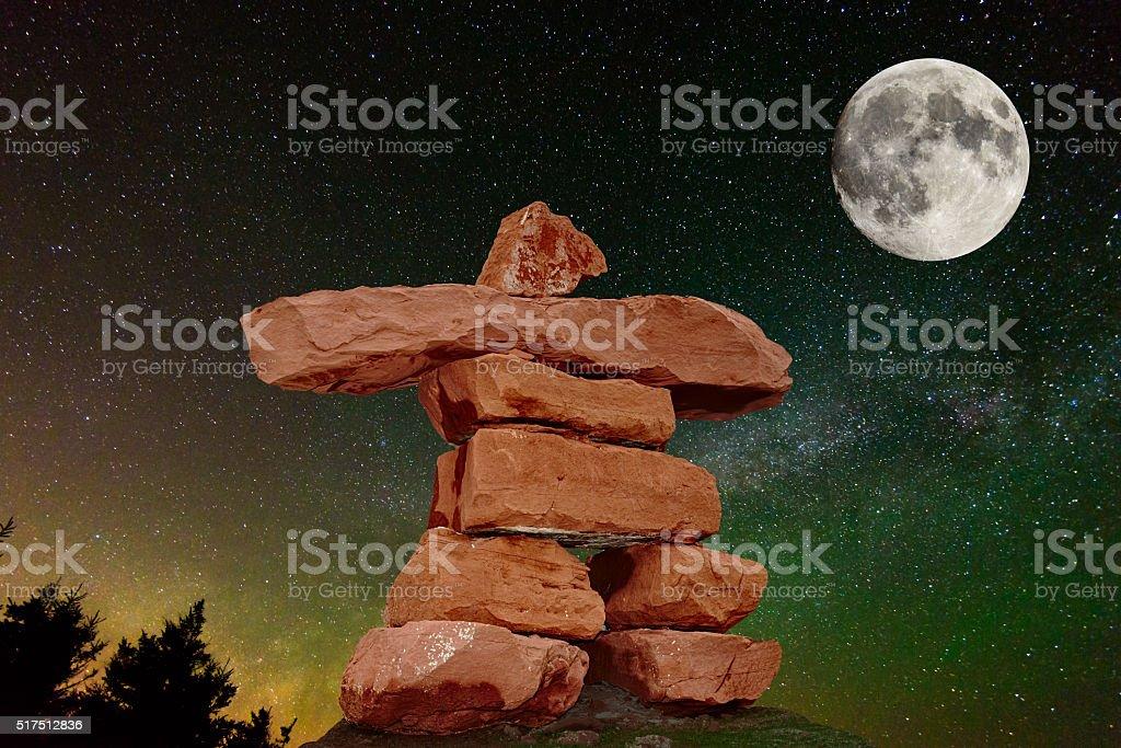 PEI Red Sand Stone inukshuk stock photo