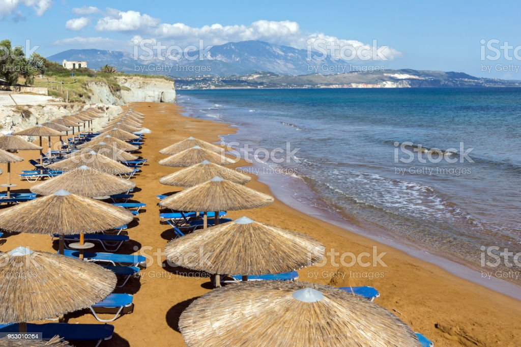 Red sands of xsi beach, Kefalonia, Ionian Islands, Greece stock photo