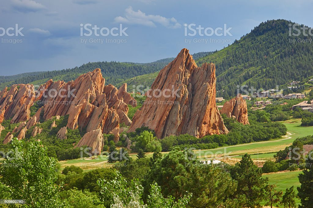 Red sandstone in Roxborough State Park stock photo