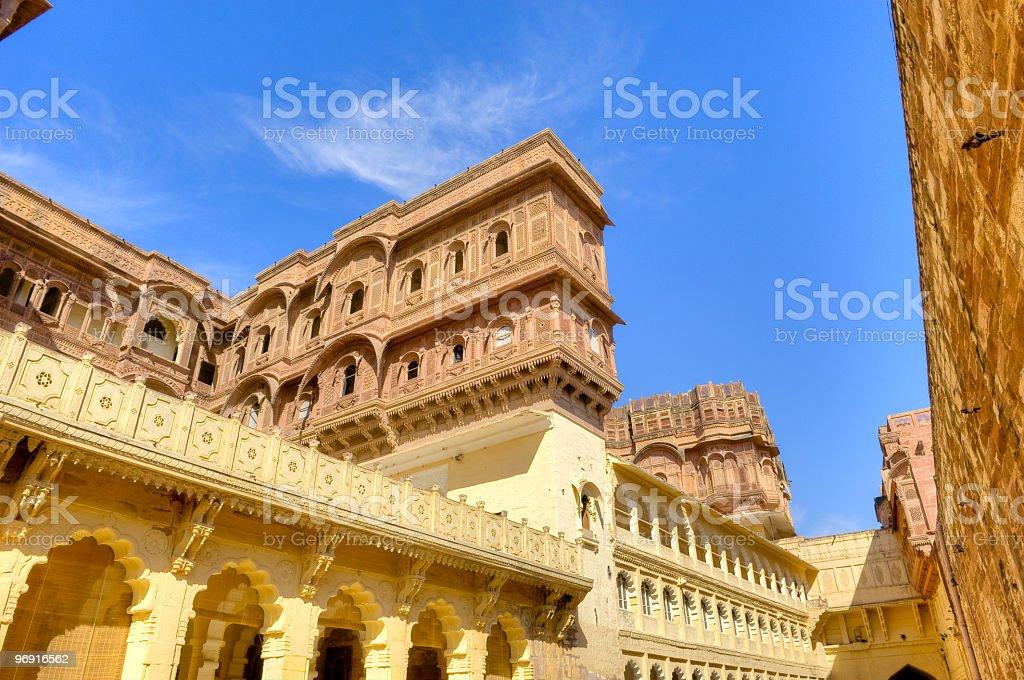 Red sandtone palace under blue sky royalty-free stock photo
