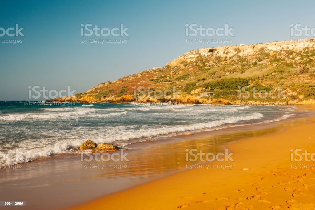 Red sandy beach, Ramla Bay, Gozo Island, Malta zbiór zdjęć royalty-free