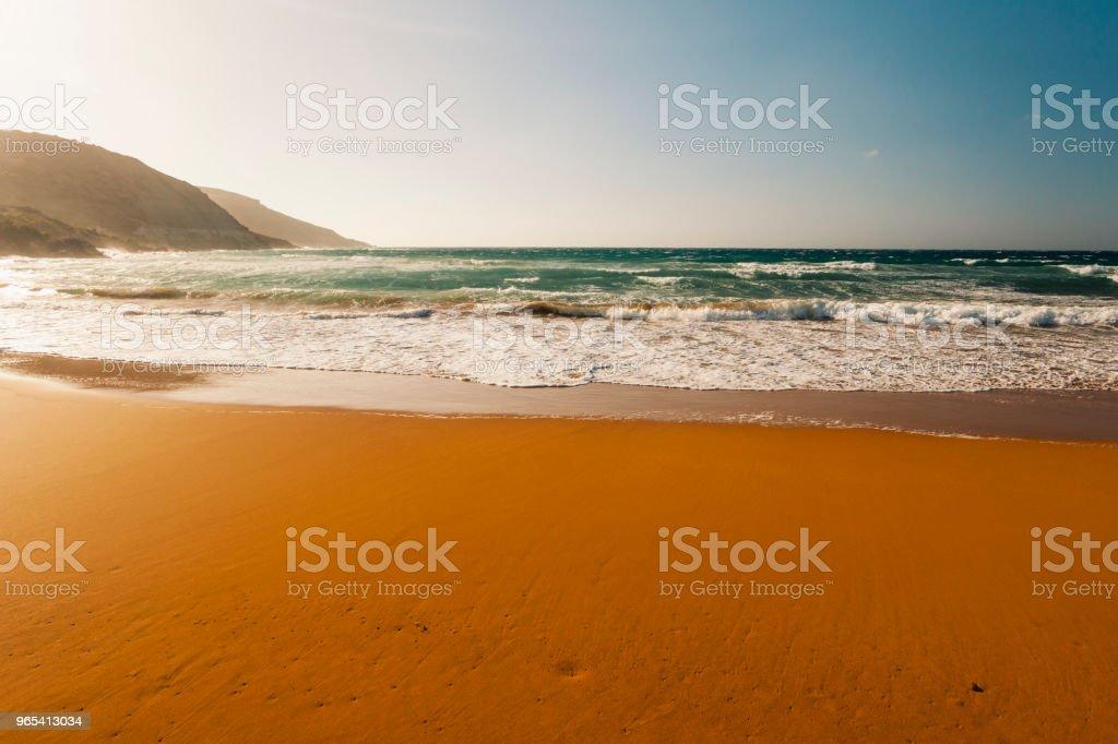 Red sandy beach, Ramla Bay, Gozo Island, Malta zbiór zdjęć royalty-free