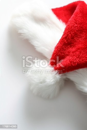 istock Red santa claus hat on the white background 176814095