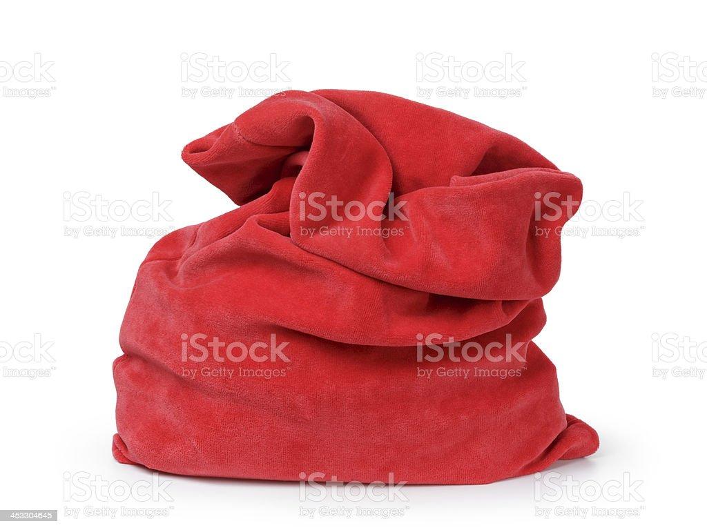 red santas bag from velvet fabric stock photo
