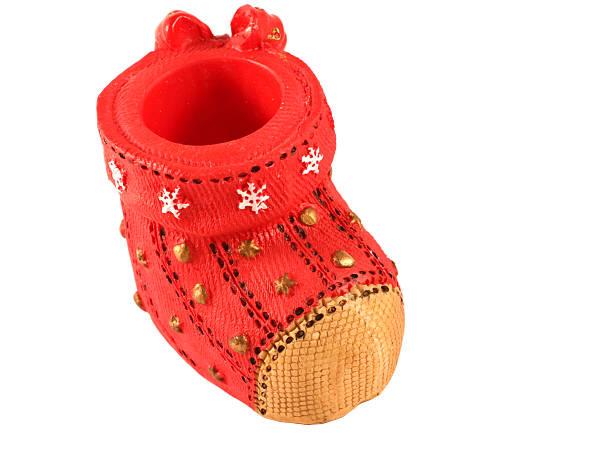 red santa's schuh - nikolausstiefel stock-fotos und bilder