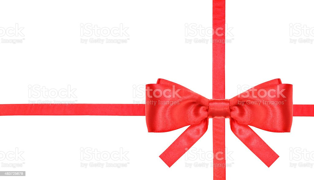red satin bow knot and ribbons on white -  2 stock photo