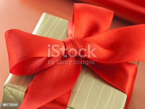 Red Satin Bow On A Gift Box Stock Photo & More Pictures of Box - Container