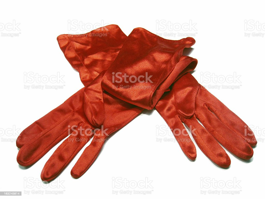 Red Satin Evening Gloves stock photo