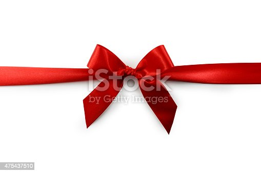 A red satin ribbon tied in a bow over a pure white background. Clipping Path Included.