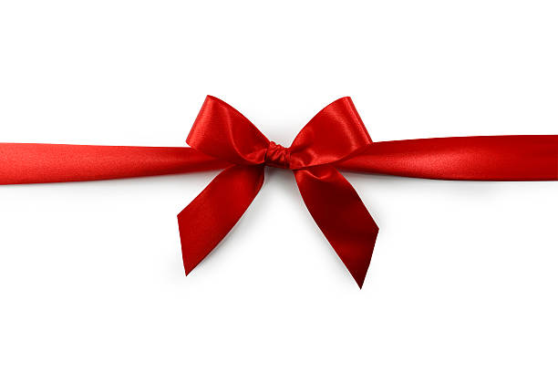 red satin gift bow (clipping path) - ribbon sewing item stock photos and pictures