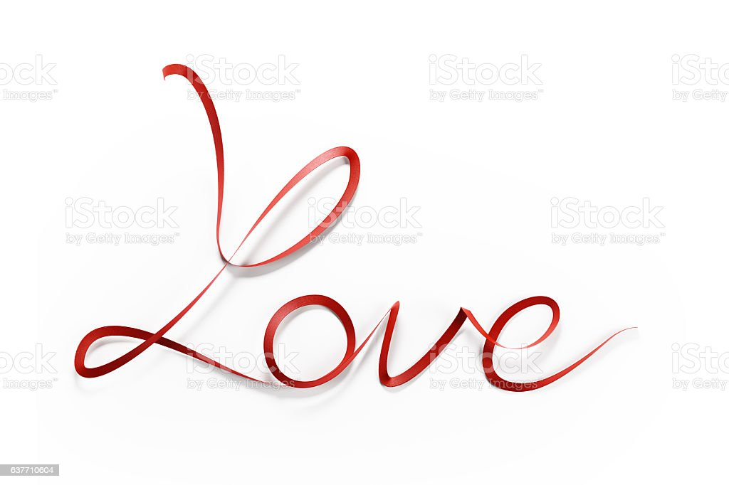 Red Satin Ribbon Forming A Love Message on White Background stock photo