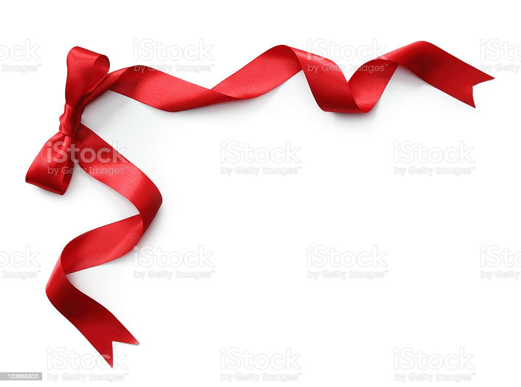 Red satin ribbon with bow royalty-free stock photo