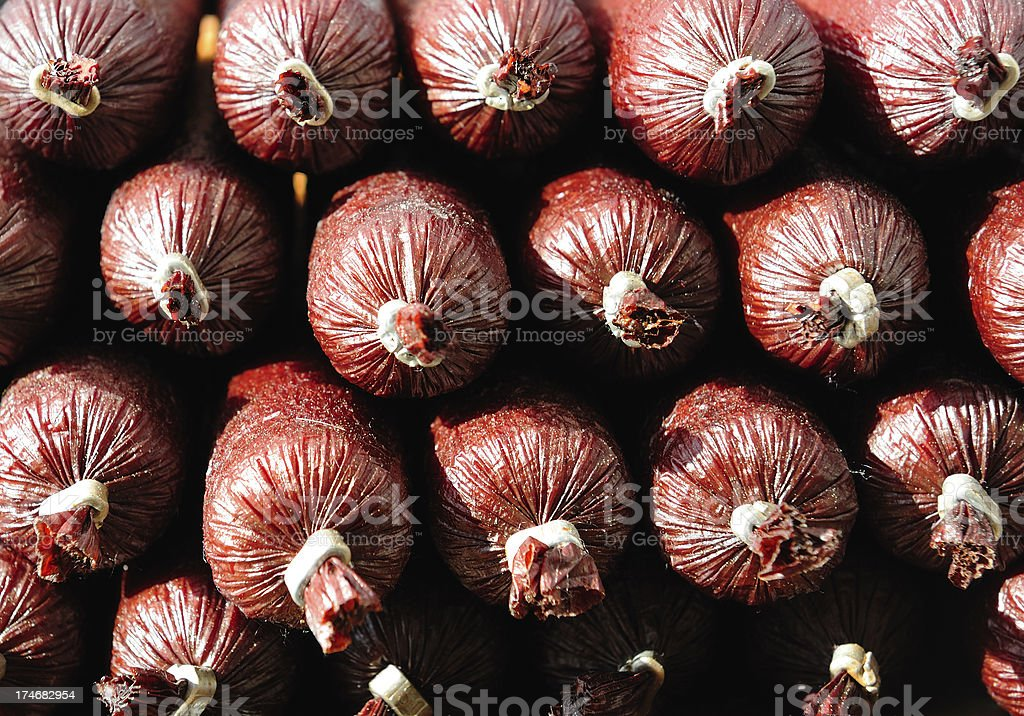 Red sausages seen from short end royalty-free stock photo